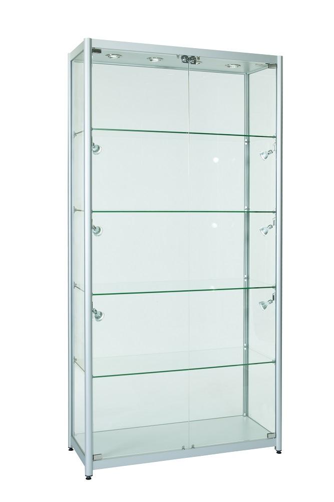 1000mm Aluminium Double Door Lockable Display Cabinet Full