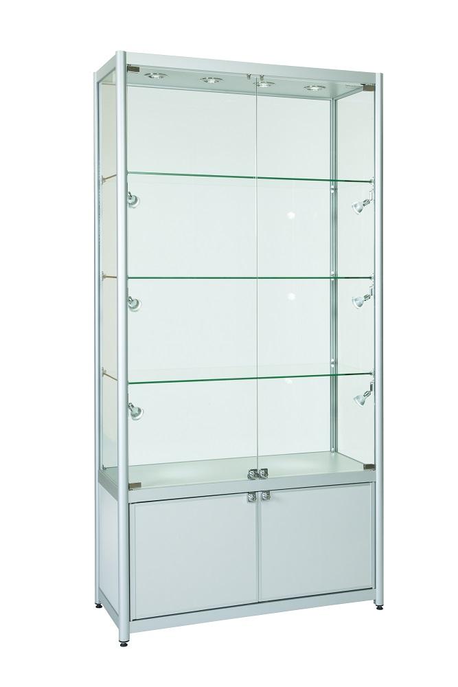 1000mm Aluminium Double Door Display Cabinets Storage