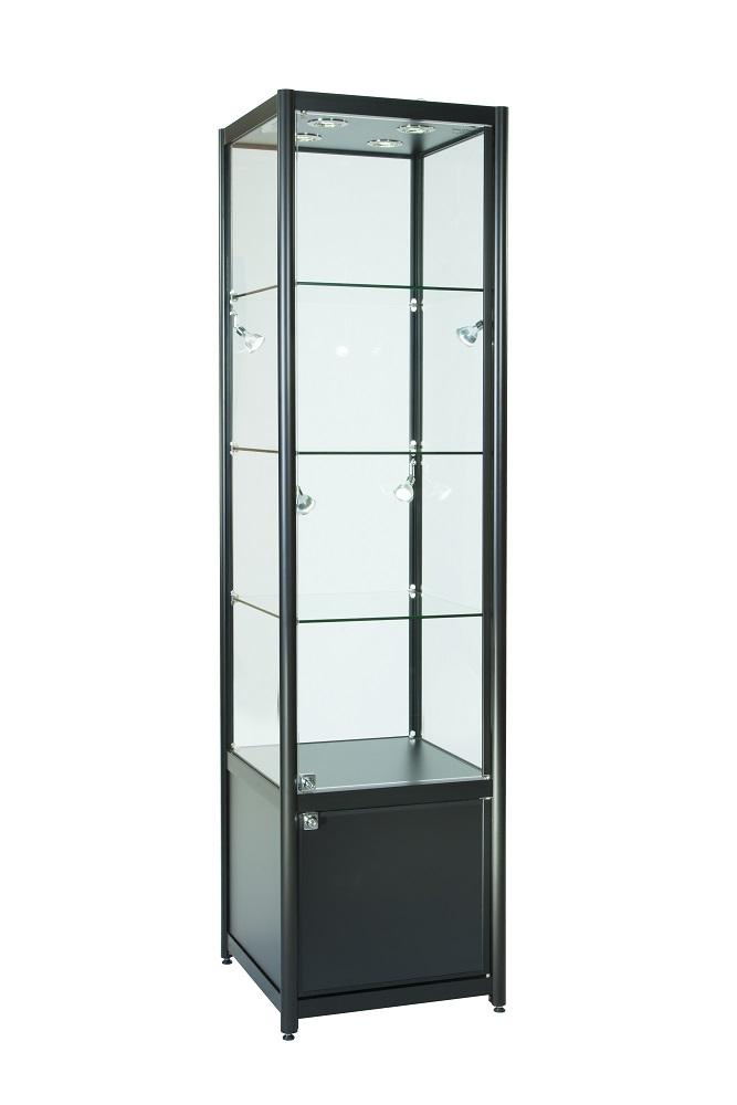 Glass Display Cabinet Showcases: 500mm Aluminium Single Door Glass Display Cabinet Lockable
