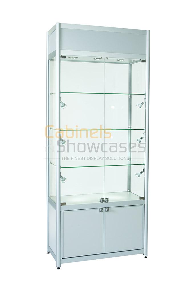 Glass Display Cabinet Showcases: Aluminium Double Door Glass Display Cabinet With Storage