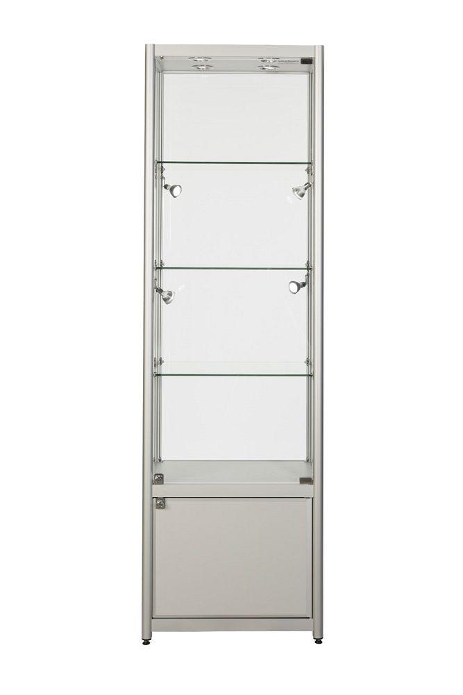 600mm Aluminium Single Door Glass Display Cabinet Lockable