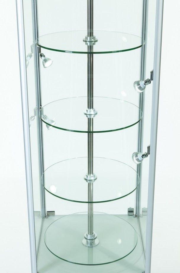 640mm Hexagonal Aluminium Lockable Glass Revolving Display