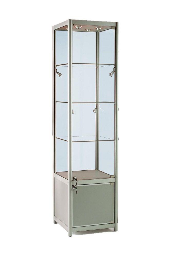 500mm Aluminium Single Door Glass Display Cabinet Lockable Storage