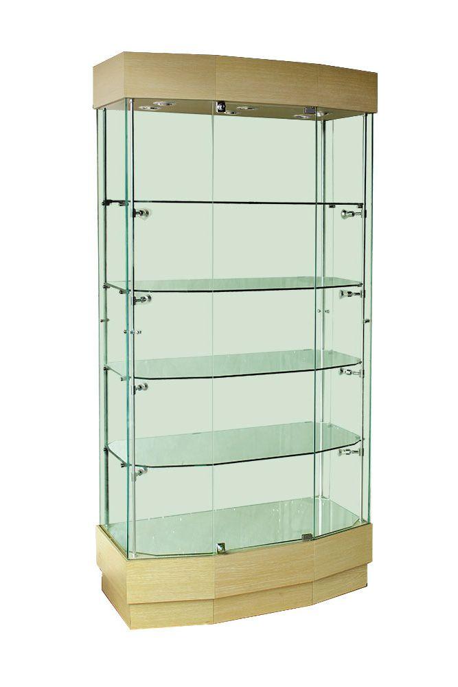 Full wooden double glass door display cabinet