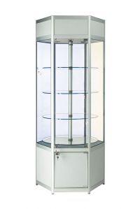 640mm Hexagonal Aluminium Lockable Glass Revolving Display Cabinet